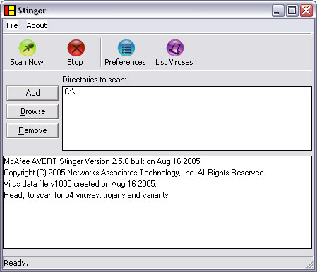McAfee Stinger 2.5.6 screenshot