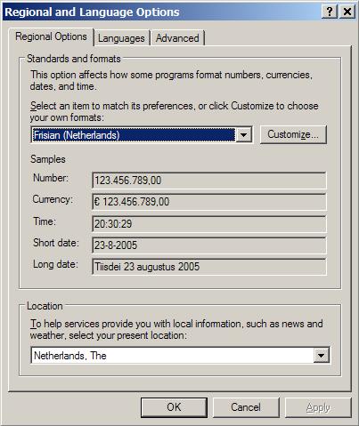 Windows XP SP2 met Friese landinstellingen