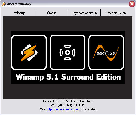 Winamp 5.1 - about screenshot
