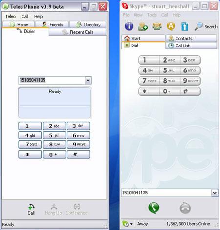 Interface Teleo 0.9 vs Skype