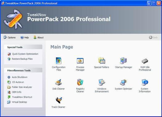 TweakNow PowerPack 2006 screenshot (resized)