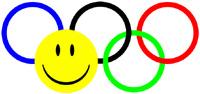 Olympische ringen met smiley