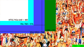 Beeldformaten NTSC/VGA/PAL/XGA/HDTV-voetbal vergeleken