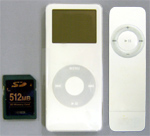 iPod nano vergeleken met iPod shuffle en CF-kaart