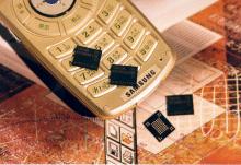 Samsung-telefoon met NAND-flashgeheugenchips