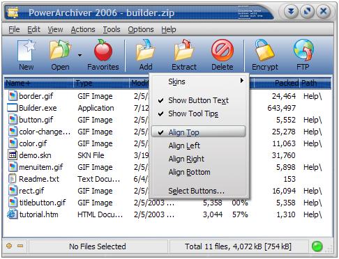 PowerArchiver 2006, Data skin