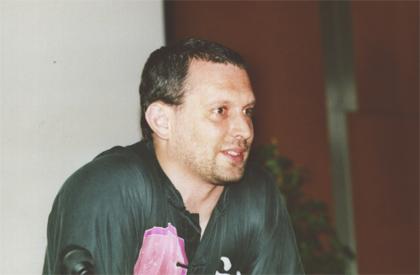 Hans Reiser (Reiserfs) tijdens LinuxTag 2001