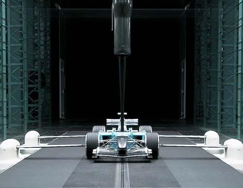 Body Toyota Formule 1-bolide in windtunnel