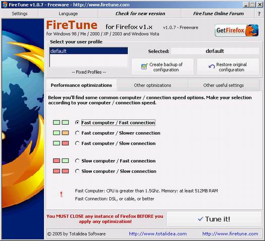 FireTune 1.0.7 screenshot (resized)