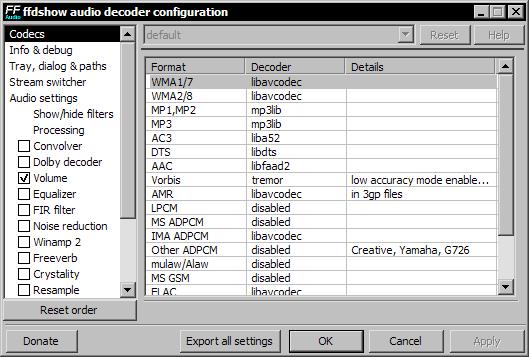 ffdshow audio decoder configuration