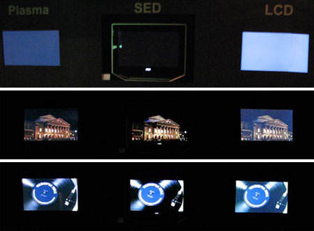 SED-monitor op presentatie van Canon vs plasma- en LCD-scherm