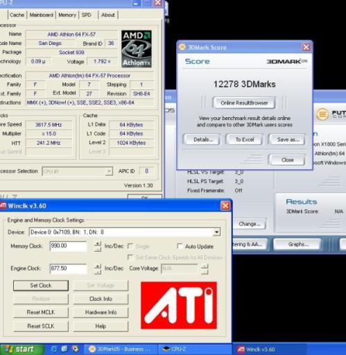 Overgeklokte ATi Radeon X1800XT scoort 12278 in 3DMark05