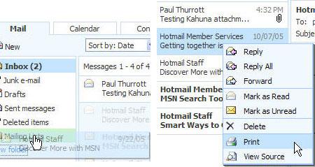 MSN Mail beta - berichten slepen (links) en rechtermuisknopmenu (rechts)