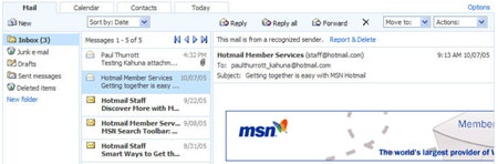 MSN Mail beta - inbox