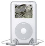 iPod met geld op het scherm