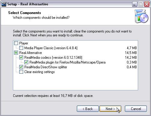 Real Alternative 1.44 setup screenshot
