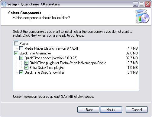 QuickTime Alternative 1.63 setup screenshot