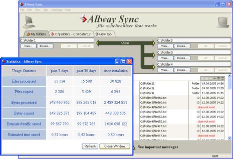 Allway Sync screenshot (statistics)
