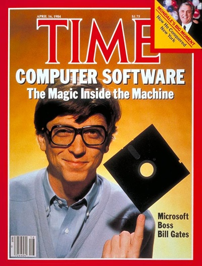 Bill Gates op de cover van Time magazine in 1984, met 5¼