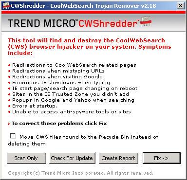 CWShredder 2.18 screenshot
