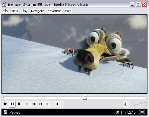 Ice Age 2 trailer in Media Player Classic