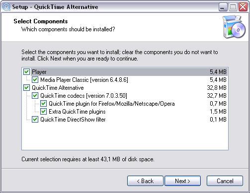 QuickTime Alternative 1.65 installatie screenshot