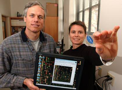 Professors Robert Kuchta and Kathy Rowlen, met scanner en griepchip