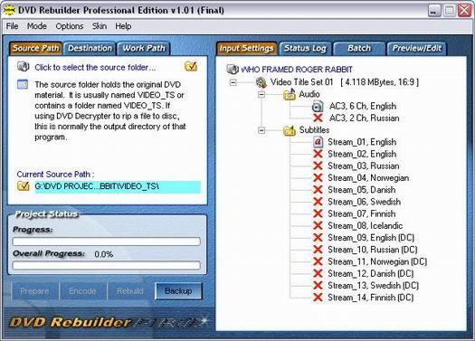 DVD ReBuilder Pro 1.01 screenshot (resized)