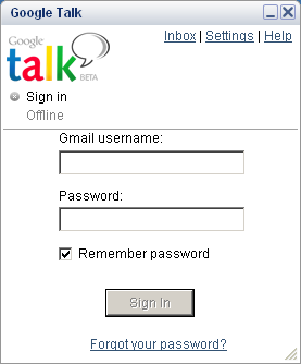 Google Talk - inlogscherm
