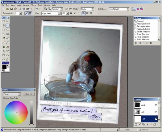 Paint.NET 2.5 RC 1 screenshot (resized)
