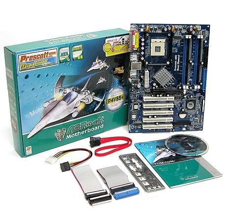 Asrock P4V88+ moederbord en doos