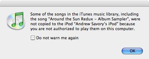 Poging om kopieerbeveiligde muziek op iPod te zetten