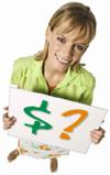 IVE-juffrouw met tarievenbordje
