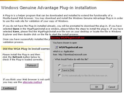 Windows Genuine Advantage-site met FireFox 1.7