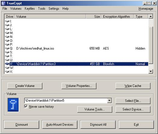 TrueCrypt screenshot (resized)