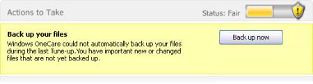 Microsoft OneCare Live Backup