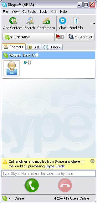 Skype 2.0.0.43 beta coor Windows screenshot