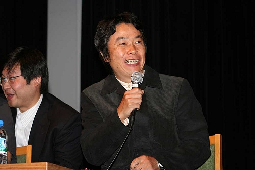 Shigeru Miyamoto van Nintendo geeft een key-note speech