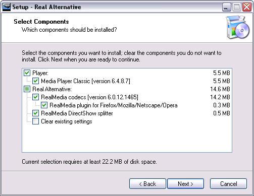 Real Alternative 1.46 installatie screenshot