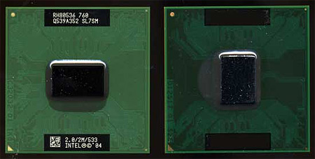 Intel Pentium M naast Intel Core Duo