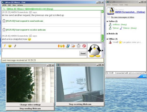 aMSN Messenger - chatscherm en webcam