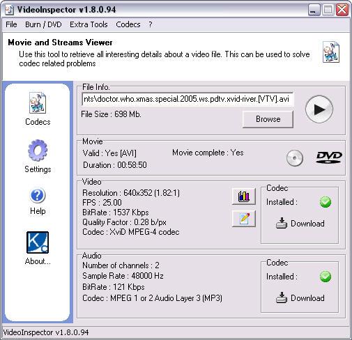 VideoInspector 1.8.0.94 screenshot