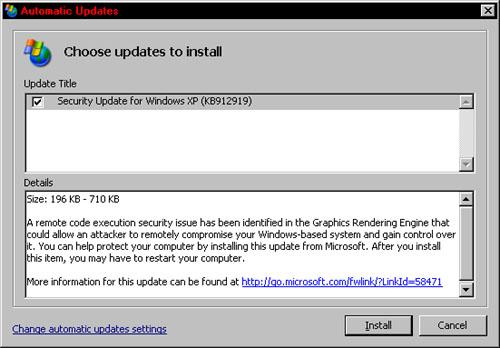 MS-patch 912919: installatiescherm patch