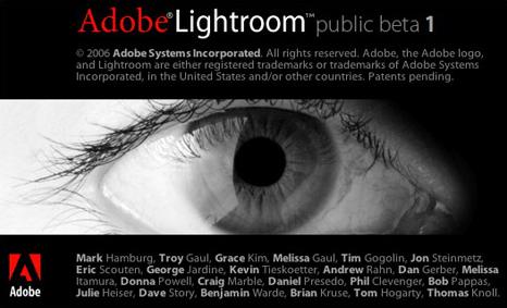 Adobe Lightroom - splash screen