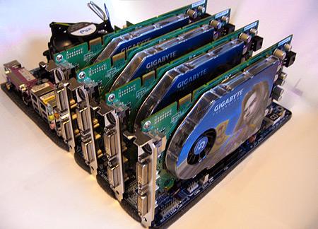 Gigabyte GA-8N SLI Quad Royal-moederbord met vier GeForce 7800 GT-kaarten