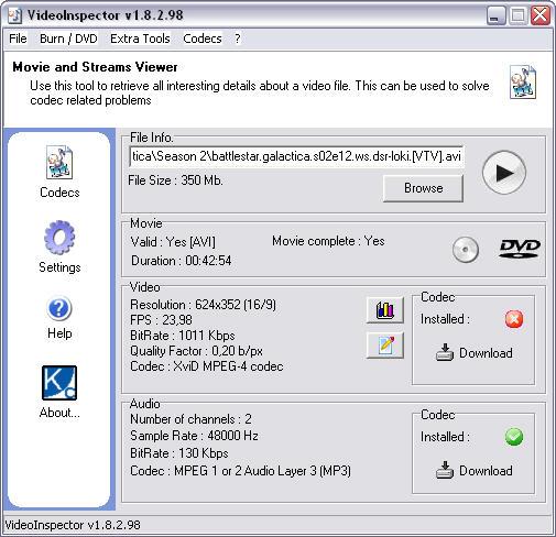 VideoInspector 1.8.2.98 screenshot
