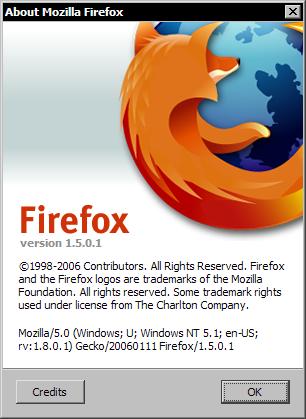 Mozilla Firefox 1.5.0.1 RC1 - aboutscherm
