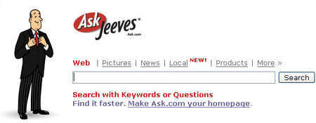 Ask Jeeves-zoekboxje