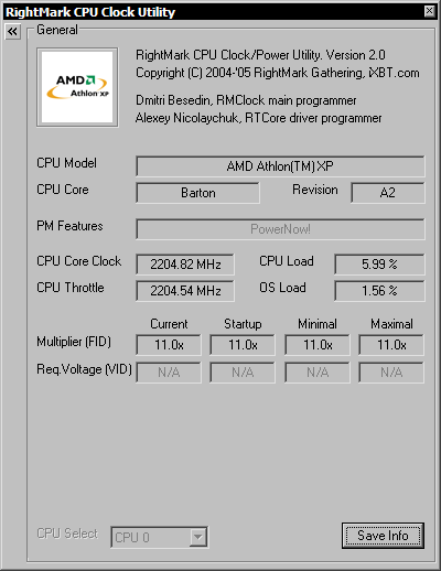 RightMark CPU Clock Utility - General