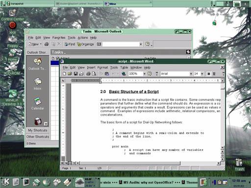Screenshot van Wine met Microsoft Office